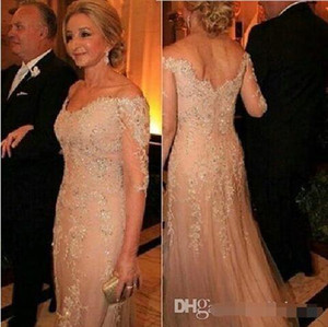 Mother Of The Bride Dresses Tulle Lace Sequined 3 4 Long Sleeves Evening Dress Deep V neck Appliques Groom Mother Formal Prom Gowns on Sale
