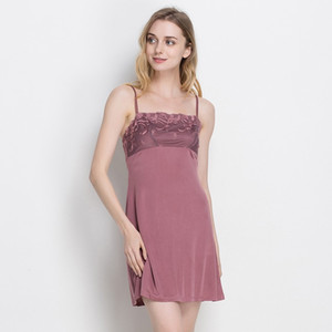 High Grade Women Sexy Pure Silk Knit Sleeveless Full Slips W  Embroidery US 2 6 10