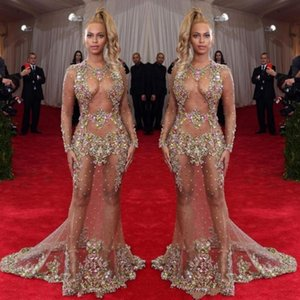 2019 Sheer Beaded Evening Dress Beyonce Met Ball Red Carpet Dresses Nude Naked Celebrity Gown See Through Formal Wear Sweep Train Backless on Sale