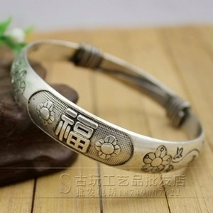 Wholesale silver bamboo bracelets resale online - Chinese Antique carved Miao silver jewelry bracelet Plum flower