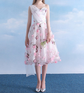 Modern 2019 New Organza One Shoulder Party Dress Colorful Draped A Line Belt Printed Tea Length Flowers Custom Size Floral Homecoming Gowns on Sale