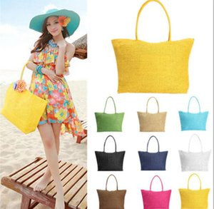 Women Beach Bags Candy Bag Travel Bags Summer Straw Shoulder Tote Shopper Purses Weave Shoulder Tote 13 color 120pcs KKA1650