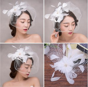 Wholesale White Pink Navy Blue Wedding Bridal Fascinator Hats New Style Retro Yarn Feathers Linen Hat Wedding Accessories Hair Accessories