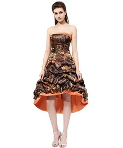 2017 High Low Camo Bridesmaid Dresses With Satin Edge Strapless Draped Maid of Honor Dress Formal Prom Gowns Cheap Wedding Party Dresses on Sale