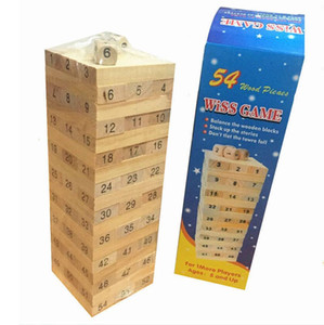 Wholesale WISS GAME Baby Toys Family Game Wooden Blocks Dice Tumbling Stacking Tower Digital Building Blocks Popular Game Education Gift