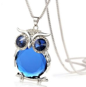 Wholesale Owl Pendant Necklace Crystal Gem Long Chain NEW Fashion Owl Charm Statement Necklaces Fine Jewelry for Women Christmas Gift