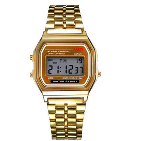 Wholesale 2018 Fashion Retro Vintage Gold Watches Men Electronic Digital Watch LED Light Dress Wristwatch relogio masculino FYMHM102