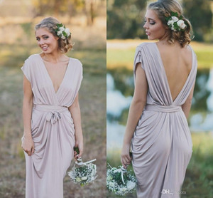 Wholesale Sexy Cheap Bridesmaid Dresses Gray Deep V Neck V Back Backless Maid Pleats Floor Length Maid of Honor Dresses Custom Made