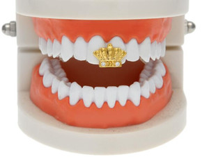 Wholesale hiphop crown shape gold plated teeth grillz Vampire single teeth cap Holiday dress gift bling jewelry size about cm cm GANGSTER grillz