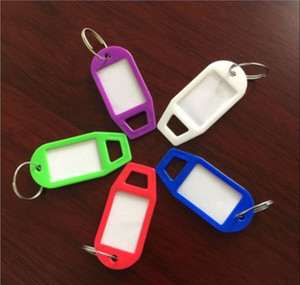 Wholesale Hotel Home Blank Key Suitcases Classification Tags Plastic Language Keychain ID Name Cards Labels With Ring Hot Sell bf J