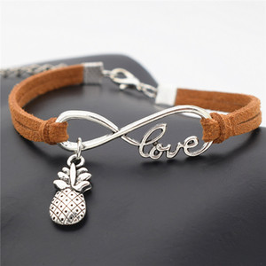 Wholesale Creative Hawaii Beach Sexy Personality Unique Design Antique Silver Pineapple Charms Pendant Bracelet Love Gift Infinity Jewelry