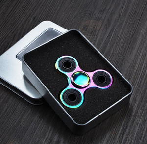 Wholesale tri rainbow hand spinner resale online - Rainbow Colors Tri Fidget Hand Finger Spinner Aluminum Colorful EDC Tri Spinner Toys Hand Spinner Fidget Decompression Toy