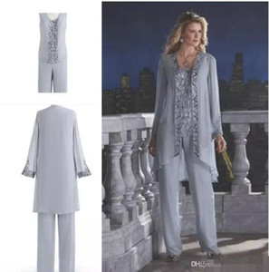 Wholesale Hot Selling Mother Of The Bride Three Piece Pant Suit Chiffon Beach Wedding Mother s Groom Dress Long Sleeve Beads Wedding Guest Dress