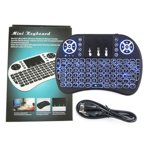 Wholesale Mini Wireless Keyboard colour backlit GHz English Russian Air Mouse Remote Control Touchpad For Android TV Box Tablet Pc PC