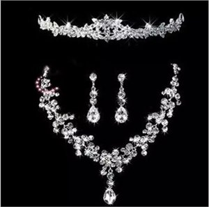 Wholesale beaded bridal jewelry sets resale online - Bridal Tiaras Hair Necklace Earrings Accessories Wedding Jewelry Sets cheap price fashion style bride hair dress bridalmaid