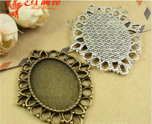 Wholesale 34 MM Fit MM alloy retro metal jewelry accessories oval stamping blank silver pendant base cabochon settings
