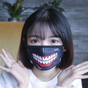 Wholesale piece Tokyo Ghoul Kaneki Ken Horror Halloween Cosplay Mask Winter Cotton Funny Warm Mouth Anti Dust Face Mask with Zipper D059