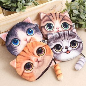 Wholesale fashion dog cat print resale online - Coin Purses Wallet Ladies D Printing Cats Dogs Animal Big Face Change Fashion Cute Small Zipper Bag For Women