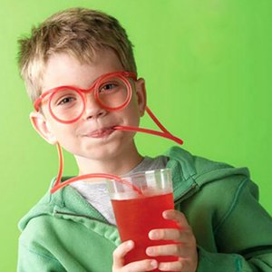 Wholesale Festival Funny Soft Glasses Straw Unique Flexible Drinking Tube Kids Party Accessories Colorful Plastic Drinking Straws