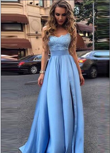 2017 New Elegant Light Blue Strapless Satin Long Prom Dresses Lace Top Split A Line Floor Length Evening Party Dresses