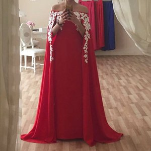 Wholesale Arabic Style Sexy Long Red Evening Dresses Off The Shoulder Formal Evening Gowns Appliques Lace Prom Party Dress Custom Made