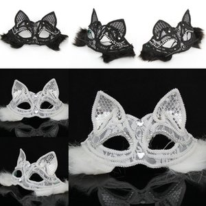 Wholesale Sexy Lady Cat Mask Black White Lace Half Fox Mask Dress Party Animal Face Accessories Masquerade Halloween Party Prop