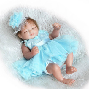 Wholesale Silicone Reborn Dolls CM Mini Lifelike Bebe Reborn Babies with Princess Dress Blue dress Birthday Gifts Juguetes Play House Kids Toys