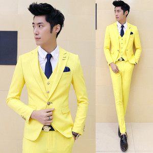 Wholesale yellow suits for boys resale online - 3 pieces Jacket Vest Pant Boys Terno Prom Suits With Pants Mens Yellow Wedding Suit for Men Korea Slim Fit Party Dress Costume