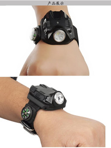 Wholesale US military outdoor light rechargeable flashlight wrist watch strap cool running lamp light long range self defense led home