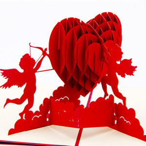Wholesale Cupid s Heart Creative Valentine s Greeting Gift Cards D Pop UP Card Kirigami Origami Wedding Invitations