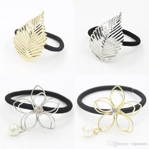 Wholesale Crystal pearl flower hair rubber bands accessories gold silver plated flower leaf hair ring headband for women hair jewelry wholesale