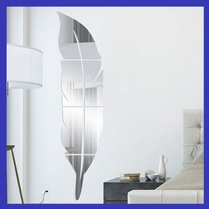 Wholesale Mirror Wall Stickers 3D Mural Painting Acrylic Mirrors Plane Living Room Bedroom Paste Feather Plume Decoration European Style Minute 13rd