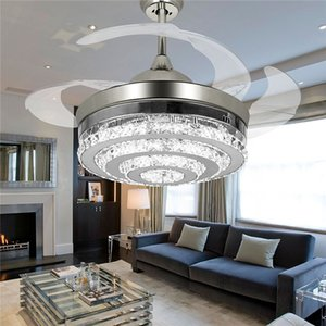 Wholesale Modern Diamond Chorme Crystal Ceiling Fans light with LED Lights Retractable 4 Blades Pendant Lights 42 inch Fans Chandelier for Living Room