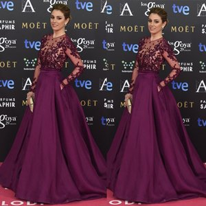 Lace Applique Prom Dress Beaded Red Carpet Satin Illusion Ball Gown Formal Long Sleeves Floor Length Evening Dresses on Sale