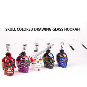 Wholesale Skull Head Smoking Pipes Glass Hookahs Bong Zinc Alloy Glass With Leather Hose Portable Mini Pipes Smoking Accessories