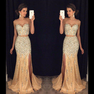 Wholesale Two Pieces Tulles Prom Dresses 2017 Elegant Sweetheart Beads Crystals Long High Slit Women Formal Party Dress Graduation Gown
