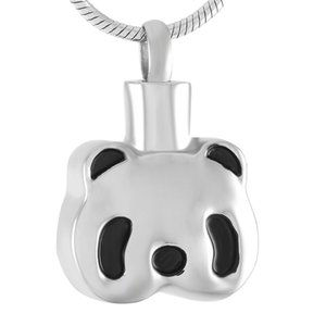 Wholesale funeral urns resale online - IJD9382 Cute Panda Stainless Steel Cremation Pendant Necklace Funeral Casket Memory Ashes Keepsake Urn Necklace