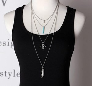 Wholesale Fashion Womens Jewelry Immitation Turquoise Silver Tone Multi Layered Long Pendant Necklaces Chinese Knot Stars Feather Gifts For HER