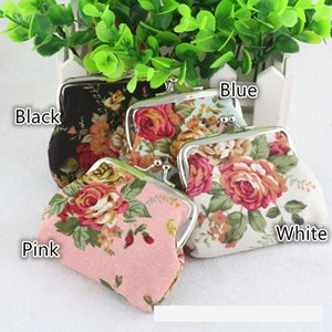 Wholesale Fashion Vintage Flower Printed Colorful Canvas Hasp Coin Purse Mini Women Keys Blossom Coin Pouch Wallet