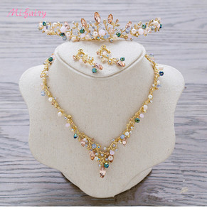 Vintage Baroque Bridal Tiaras Sets Gold Colorful Crystals Princess Headwear Stunning Wedding Tiaras Earrings 2 Pieces Sets 13.5*3.5cm H79