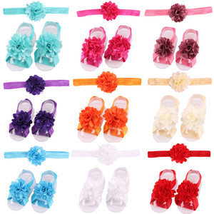 Wholesale Baby Sandals Flower Shoes Cover Barefoot Foot Flower Ties Infant Girl Kids First Walker Shoes Headband Set Photography Props Colors A46