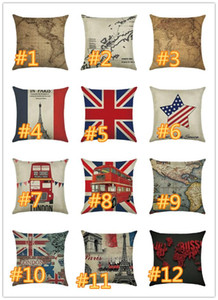 Wholesale World Map Cushion Cover America Map national Flag of Europe Square Pillow Case for Sofa Home Decorative Pillow Red Car of London