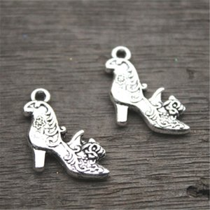 15pcs--High Heel Shoe Charms, Antique Tibetan silver 2 sided High Heeled Shoes with flowers Charm Pendant 20X19mm