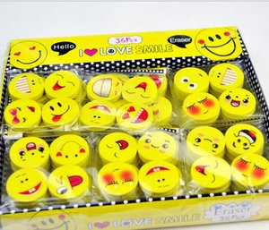 Wholesale Eco Friendly cm Smile Face Erasers Rubber for Pencil Kids Funny Cute Stationery Novelty Eraser Office School Supplies BOX