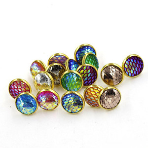 Wholesale Fashion Drusy Druzy Earrings Gold Plated mm Round Resin Mermaid Fish Dragon Scale Stud Earrings for Women Lady Jewelry