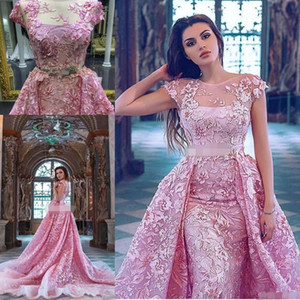 Wholesale Pink D Floral Applique Over Skirt Prom Dresses with Crystal Belt Sheer Neck Dubai Arabic Plus Size Prom Dress with Detachable Train