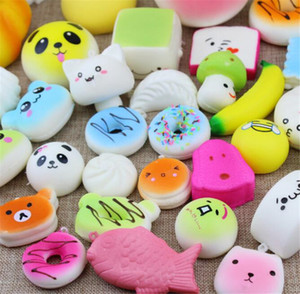 Wholesale Kawaii Squishy Bun Toast Donut Bread for cell phone Bag Charm Straps mixed Rare Squishies lanyard scented with opp package