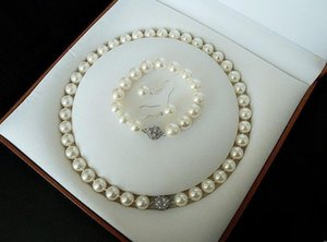 Wholesale black south sea shell pearl for sale - Group buy 8mm white South Sea shell pearl bracelet earring and necklace