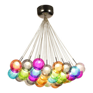 Wholesale Colorful Glass Ball Lamp G4 LED Pendant Lights V V Creative Design Lighting Fixtures for Home Deco Bar Coffee Living Room