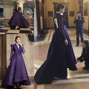 Wholesale Elegant Purple Long Sleeve V-Neck Lace Evening Dresses 2019 v-neck high low arabic Formal Dress Women Special Occasion prom Gowns